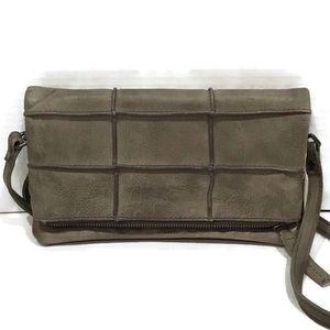 Anthropologie Moss Green Leather Clutch Crossbody